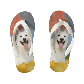 White Swiss Shepherd Dog Photo - Cute Furry Friend Kid's Flip Flops