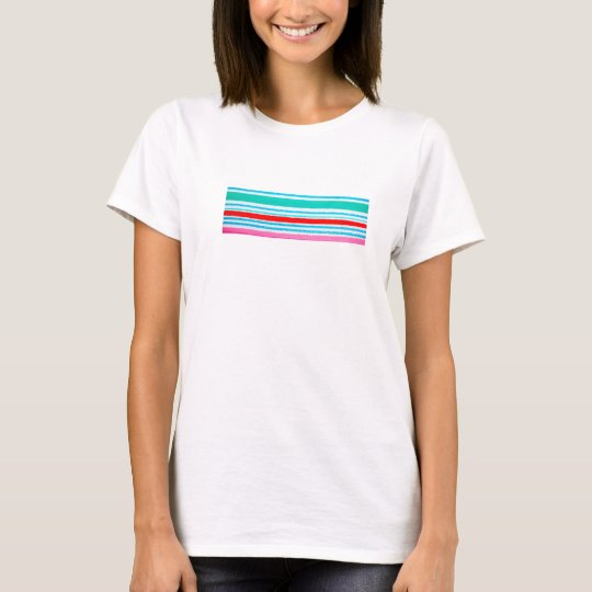 White t-shirt with colour layer design on front.