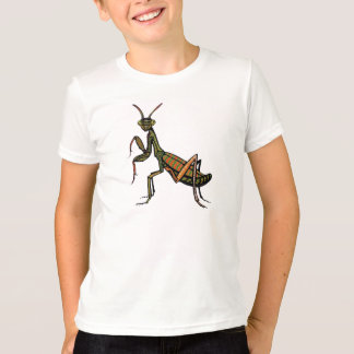 White t-shirt with Praying Mantis design