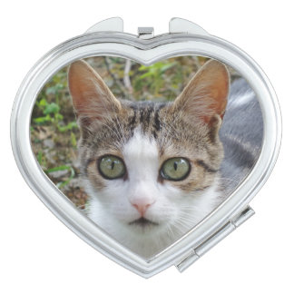 White/Tabby Cat Heart Compact Mirror