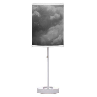 WHITE TABLE LAMP WITH CLOUDS ON RICE PAPER SHADE
