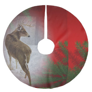 White tail buck brushed polyester tree skirt