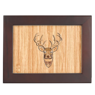 White Tail Buck Deer Head Wood Grain Style Keepsake Box