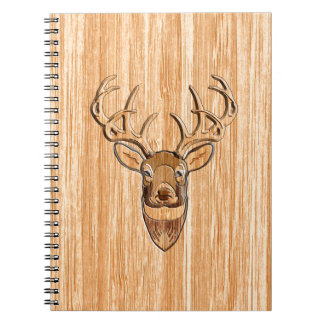 White Tail Buck Deer Head Wood Grain Style Spiral Note Books