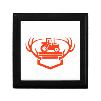 White Tail Deer Antler Tractor Retro Gift Box