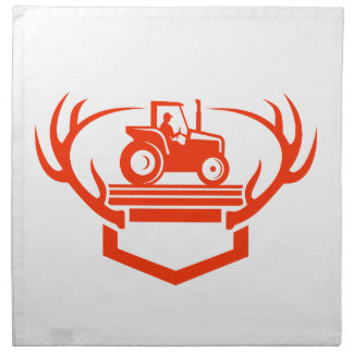 White Tail Deer Antler Tractor Retro Napkin