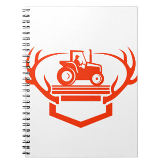 White Tail Deer Antler Tractor Retro Notebook