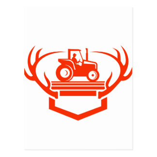 White Tail Deer Antler Tractor Retro Postcard