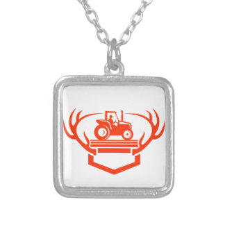 White Tail Deer Antler Tractor Retro Silver Plated Necklace