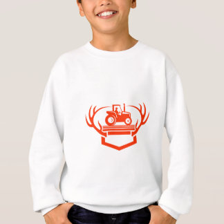 White Tail Deer Antler Tractor Retro Sweatshirt