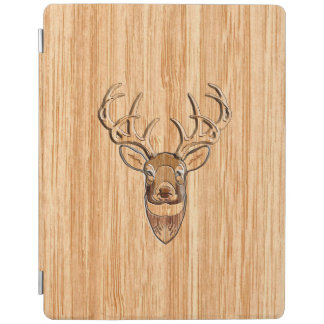 White Tail Deer Buck Wood Grain Style Design iPad Cover