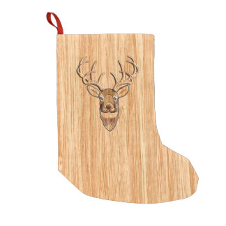 White Tail Deer Buck Wood Grain Style Design Small Christmas Stocking