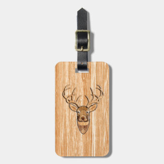 White Tail Deer Head Blond Wood Grain Style Luggage Tag