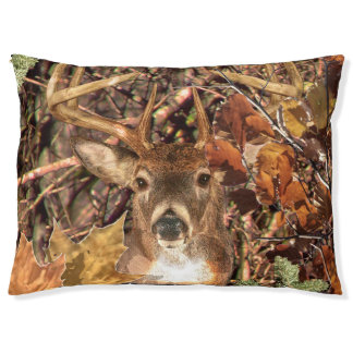 White Tail Deer Head Fall Energy Spirited on a Pet Bed