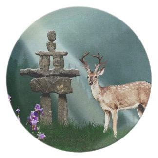 White-Tail Deer & Inukshuk Wildlife Animal Plate