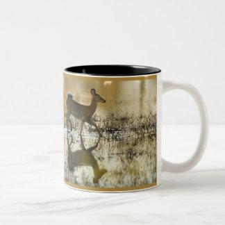 White-Tail Deer Shadow Two-Tone Coffee Mug
