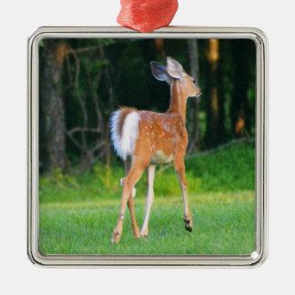 White Tail Fawn Silver-Colored Square Ornament