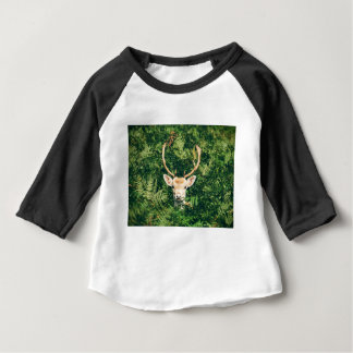 White-Tailed Deer Peeking Out of Bushes Baby T-Shirt