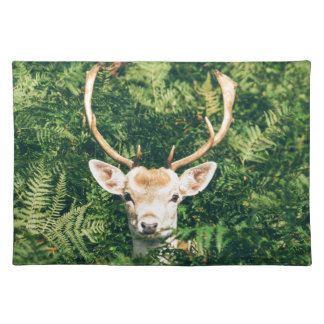 White-Tailed Deer Peeking Out of Bushes Placemat