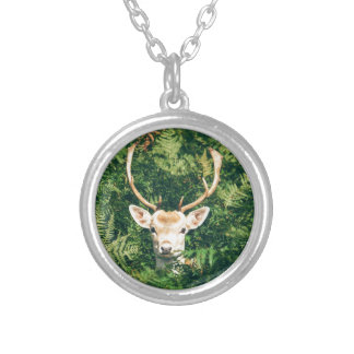 White-Tailed Deer Peeking Out of Bushes Silver Plated Necklace