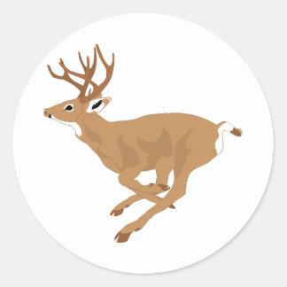 White-Tailed Male Deer (Buck) Running/Galloping Classic Round Sticker