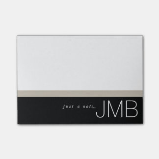 White Tan and Black Stripe Just a note Monogram