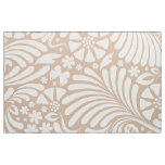 White & Tan Floral Baroque Pattern Fabric