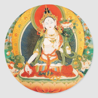 WHITE TARA BUDDHIST DEITY ROUND STICKER