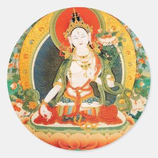 WHITE TARA BUDDHIST DEITY ROUND STICKERS