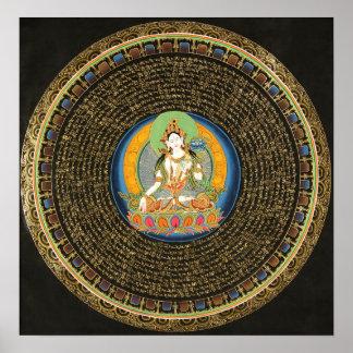 White Tara Mantra Mandala Thangka Poster