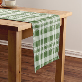 White Tartan Pattern Custom Table Runner