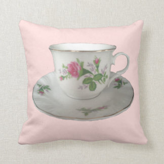 White TeaCup and Saucer and PinkRoses Pillow
