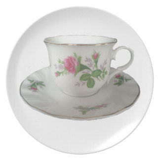 White Teacup and Saucer with PinkRoses Plate