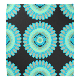 White, Teal and Black Mandala Modern Art Bandanna
