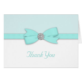 White Teal Blue Thank You Cards