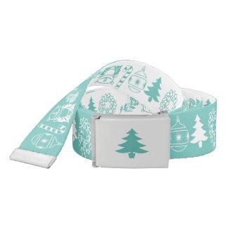 White/Teal Christmas Font Art Pattern Belt