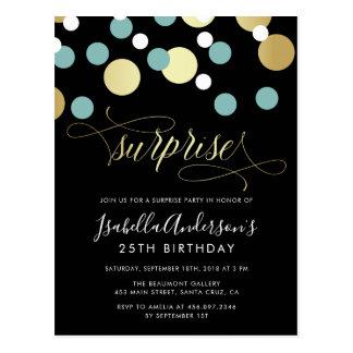 White Teal Gold Confetti Surprise Party Postcard