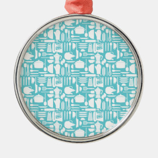 White Teal Kitchen Things Metal Ornament