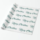 White & Teal Merry Christmas - Wrapping Paper