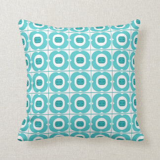 White/Teal pillow with a Retro Flower Design.