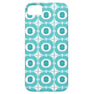 White/teal Retro Flower Design iPhone 5 Covers