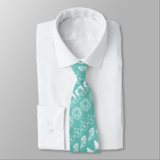 White/Teal Rows Christmas Font Art Pattern Tie