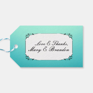 White & Teal Watercolor Wedding Pack Of Gift Tags
