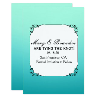 """White & Teal Watercolor Wedding Save the Date 3.5"""" X 5"""" Invitation Card"""