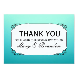 """White & Teal Watercolor Wedding Thank You 3.5"""" X 5"""" Invitation Card"""