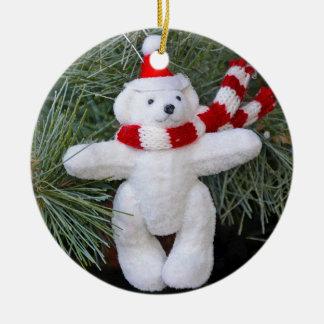 White teddy bear ceramic ornament