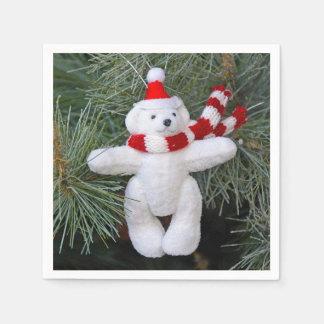 White teddy bear christmas paper napkins