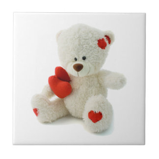 White Teddy bear holding a red heart Tiles
