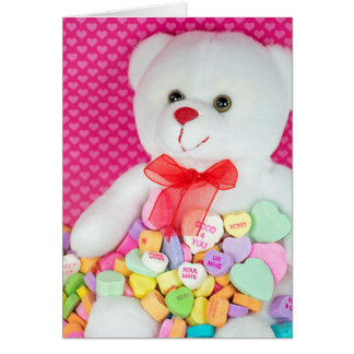 white teddy bear in valentine candy hearts card