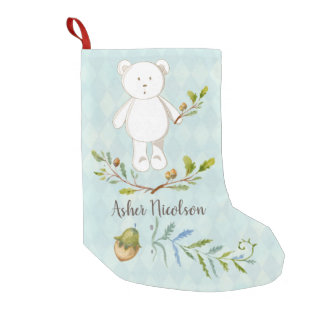 White Teddy Bear Monogram Small Christmas Stocking